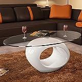 Tidyard Multifuncional Mesa de Centro Mesa de Cristal Mesita de Noche Mesa de Café de Vidrio para Estar o Dormitorio Diseño de Modernidad Vidrio de Seguridad Ovalada 115x65x40cm Blanco Brillante