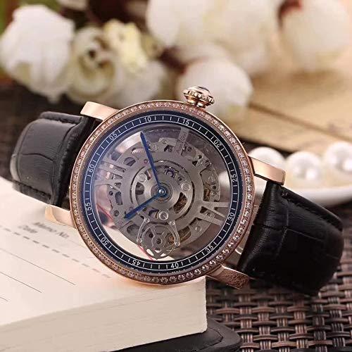HHBB Hombres de lujo automático reloj mecánico plata oro rosa diamante negro marrón cuero zafiro deporte relojes Aaa+ oro diamante negro