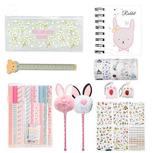 Amycute - Set de 31 piezas de papelería Kawaii, bolígrafo de color, cuaderno, regla, pegatinas de unicornio, pinza para fotos, set de regalo infantil con material escolar, color Stile 2