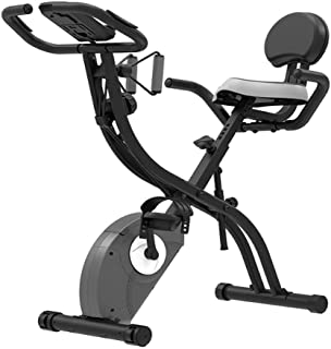 Folding Exercise Bike, Spinning Bike,with 8-Level Adjustable Magnetic Resistance, Magnetron Ultra-Quiet Indoor Stationary ...