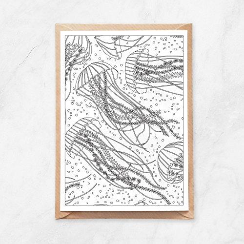 5 Stück, Postkarte zum Ausmalen, Quallen und Pflanzen, A6