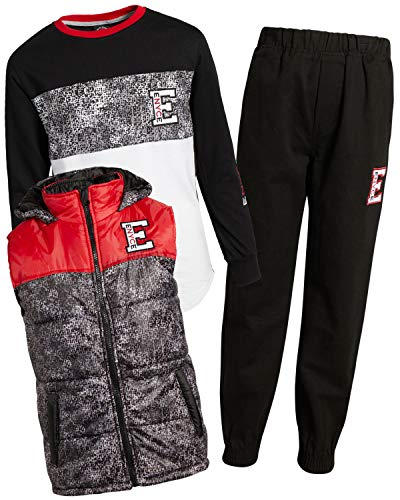 Enyce Boys 3-Piece Vest Set, Grey/Red/White, Size 4'