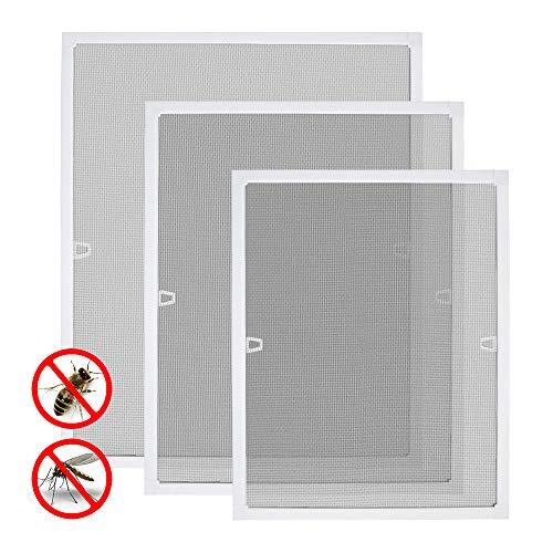 Aufun - Mosquitera para ventana, rejilla protectora contra insectos, moscas y mosquitos, con marco tensor, rejilla de aluminio y fibra de vidrio, Blanco