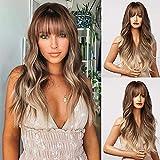 HAIRCUBE Peluca marrón con flequillo - Pelucas Ombre largas y onduladas para mujer, cabello marrón ceniza claro sintético resistente al calor, estilos encantados de aspecto natural - Las mejores