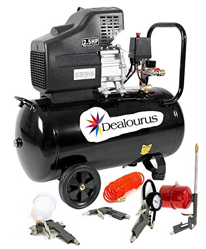 Dealourus Portable 50L Litre Air Compressor Mobile 9.6CFM 2.5HP & 5 Piece Tool Kit