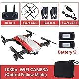 Metermall Quadricoptère Pliable RC Drone x Pro 5G Selfie WiFi FPV avec 4K HD Double caméra Paquet Double Batterie Rouge 1080P