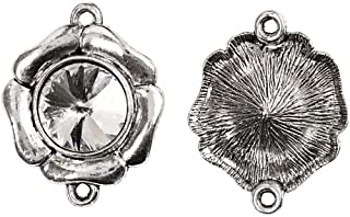 Crystal pendant, 33 mm, antique silver, AS, 2 pc