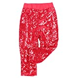 Cilucu Leggings for Baby Girls Toddler Sequin Pants Kids Birthday Clothes Sparkle on Both Sides Red 12 Months