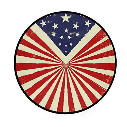 RunningBear Alfombra redonda de 3 pies – Alfombra redonda con textura de la bandera americana vintage, lavable, para cocina, dormitorio, sala de estar