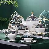 Juego de té de café de cerámica de Porcelana con 1 Pieza Tetera 6 Piezas Taza 6 Piezas Platillos 1 Pieza Azucarero 1 Pieza...