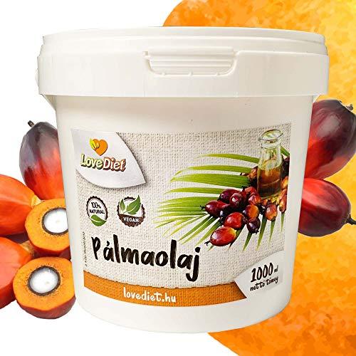 LoveDiet | Palmöl | Palm Oil | Palmfett | 100% Natural Palmkernöl | Vitamin E | vegan | glutenfrei | raffiniert | perfekt geeignet zum Frittieren und Kochen | DIY Natürliche Seife und Kosmetik 1000ml