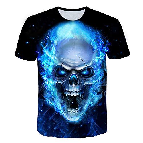 WJFGGXHK Herren T-Shirts 3D Druckten,Skelett Mit Grüner Flamme Sommer-Beiläufige Kurzarm T Shirt Männer Rundhals Funny Sport Print Tops Unisex Hemden Kleidung, Bild, 3XL