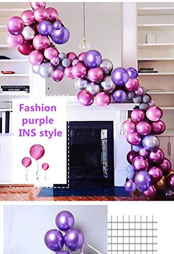 HIBAO Purple Metallic Balloons Rose Red Balloons Arch Garland Kit 60 pcs Chrome Silver Metallic LatexLight Purple Balloons Pink Balloon kit:16ft Balloon Strip Tape 100 Balloon Dot Glu