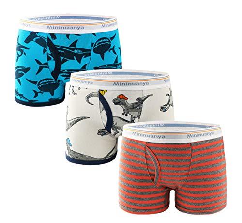 Little Boys Soft Cotton Briefs Boxer Dinosaur Truck Shark Baby Toddler Kids Underwear Shorts 3 Pack (Style 3,5-6 Years)
