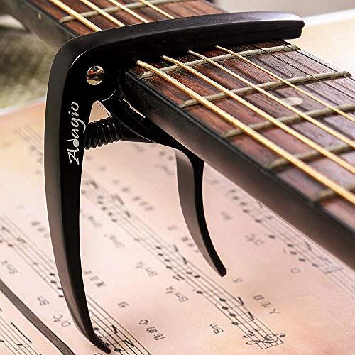 Price comparison product image Adagio PRO DELUXE CAPO Suitable For Acoustic & Electric Guitars With Quick Release And Peg Puller In Black RRP £10.99 - Retail Packed