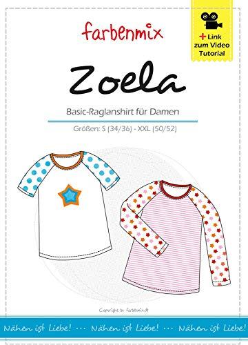 Zoela Farbenmix Schnittmuster (Papierschnittmuster für die Größen 34/36-50/52) Damen-Raglanshirt