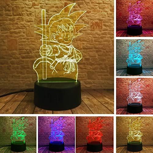 3D Nacht Licht Actie Figuur LED Illusie Lamp met Afstandsbediening Nachtlampje 7 Kleur Veranderende Tafellamp met USB Opladen Gift voor jongen Meisje Verjaardag, Slaapkamer Nachtdecoratie
