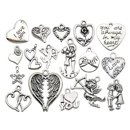 50pcs Wholesale Bulk Lots Valentine's Day Wedding Heart Charms for Jewelry Making Mixed Smooth Tibetan Silver Metal Charms Pendants DIY For Jewelry Making Necklace Bracelet and Crafting (M368)