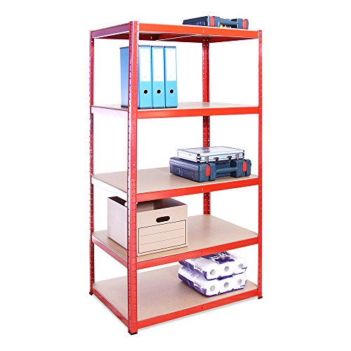 Garage Shelving Units: 180cm x 90cm x 60cm | Heavy Duty Racking Shelves for Storage - 1 Bay, Red 5 Tier (265KG Per Shelf), 1325KG Capacity | For Workshop, Shed, Office | 5 Year Warranty