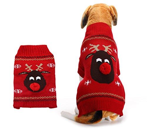 Xiaoyu Vestiti per Animali da Compagnia di Maglia del Cane per Cani Natale di Renna, Rosso, XL