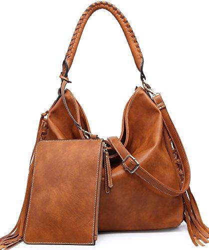 SHOMICO Hobo Bag for Women Boho Purses and Handbags Fringe Big (Tan)