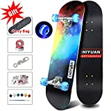 Easy_Way Complete Skateboards- Standard Skateboards with Colorful Flashing Wheels for Beginners Starter- 31''x 8''Canadian Maple Cruiser Pro Skate Board,Longboard Skateboards