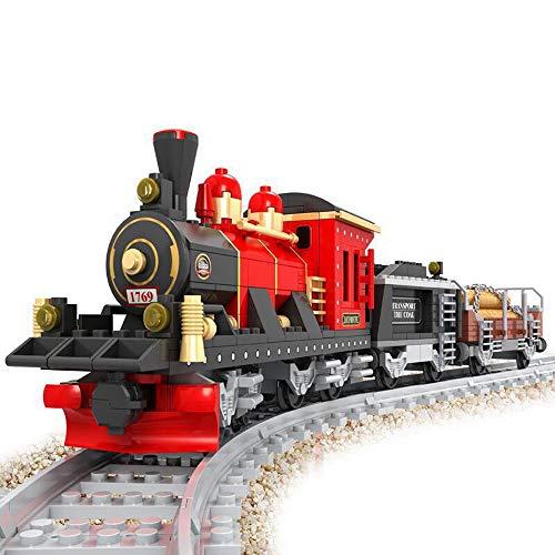 Brigamo Bausteine Zug historische Lokomotive mit Zwei Güterwagen und Schienenset