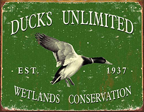 "Desperate Enterprises Ducks Unlimited - Since 1937 Tin Sign, 16"" W x 12.5"" H"
