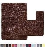 GORILLA GRIP Original Shaggy Chenille 2 Piece Bath Rug Set, Includes Square U-Shape Contour Toilet Mat & 30x20 Carpet...