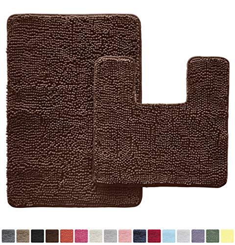 Gorilla Grip Original Shaggy Chenille 2 Piece Area Rug Set, Includes Square U-Shape Contour Toilet Mat & 30x20 Bathroom Rugs, Machine Wash/Dry Mats, Soft, Plush Rugs for Tub Shower & Bath Room, Brown