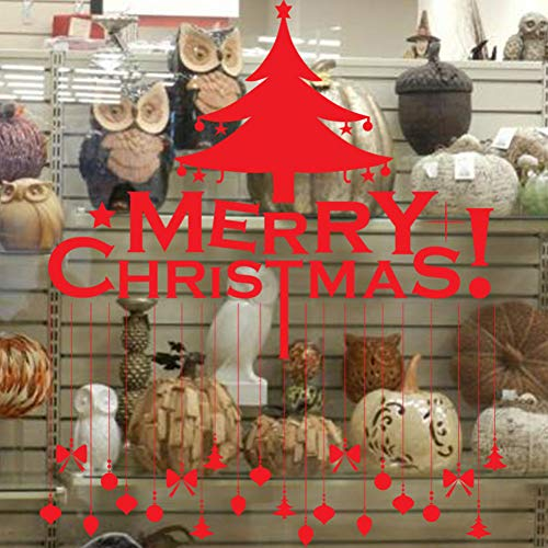 TYOLOMZ Vrolijk Kerstmis Shop Raam Stickers Verwijderbare Vinyl Kerstboom Plafond lamp Art Mural Decoratie Decals Xmas Decor Gift