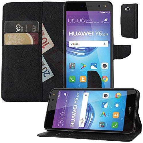 MOELECTRONIX Buch Klapp Tasche Schutz Hülle Wallet Flip Hülle Etui passend für Huawei Y6 2017 MYA-L41