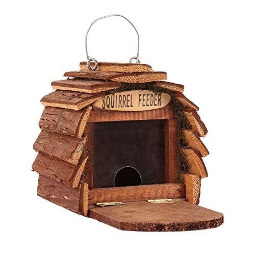 Greenfields Eichhörnchen-Haus aus Holz, perfekt für Ihren Garten, Terrasse, zieht Eichhörnchen an, langlebige Futterstation, wetterfest, mit integriertem Drahtaufhänger