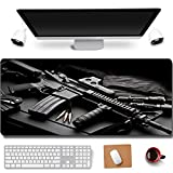 31.5x11.8 Inch Cool CS Gun Cleaning Non-Slip Rubber Extended Large Gaming Mouse Pad with Stitched Edges Computer Keyboard Mouse Mat PC Accessories (6-AK 47)