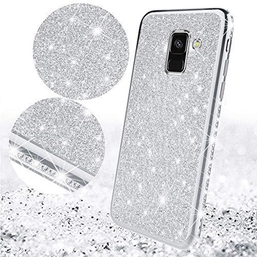 Surakey Cover Compatibile con Samsung Galaxy A8 2018 Custodia Silicone Glitter Bling Paillettes Case Brillantini Diamante con TPU Bumper Anti-Scratch Custodia per Samsung Galaxy A8 2018,Argento