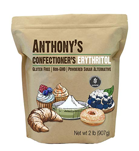 Anthony's Confectioner's Erythritol, 2 lb, Non GMO, Natural Sweetener, Zero Calorie, Keto & Paleo Friendly