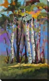 Picture Perfect International Golden Birch Trees by Jane Slivka Print Canvas Art, 24' W x 40' H x 1.5', Blue