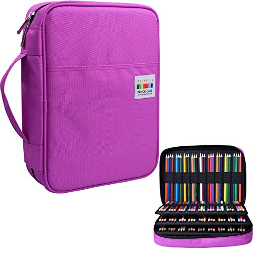 220 Slots Colored Pencil Case Pen Bag with Zipper Closure for Student Artist Girl Storage Organizer for Watercolor Pencil Gel Pen Marker Highlighter Large Capacity Handy Pencil Holder(Purple)