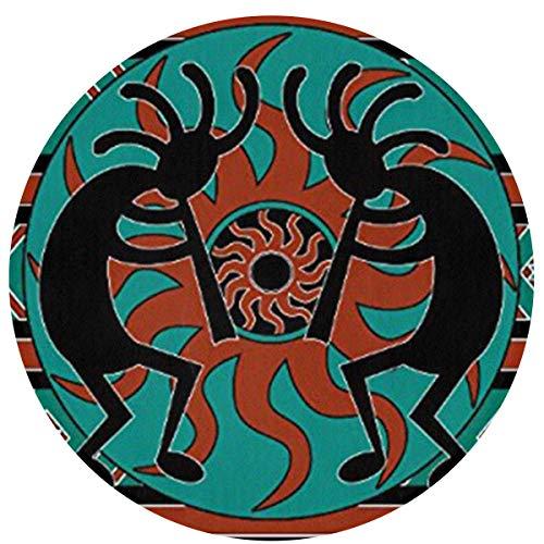 Alfombras redondas duraderas, supersuaves, de franela, lavables y de fácil cuidado, para sala de estar, baño, dormitorio, antideslizante, absorbente, Franela, Flauta india americana nativa., 60 x 60cm