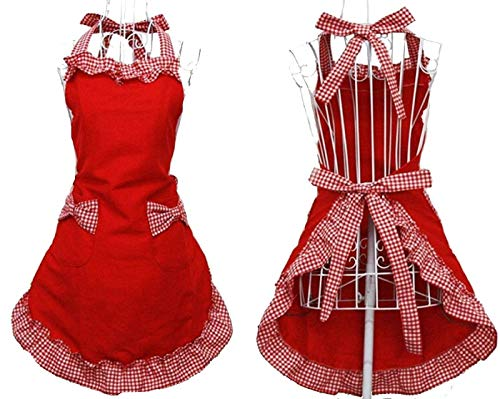 traderplus Women's Kitchen Retro Apron with Pockets for Cooking, Baking, Gardening, Crafting (Red White)