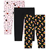The Children's Place Baby and Toddler Girl Halloween Print Knit Leggings 3-Pack, Black, 5T