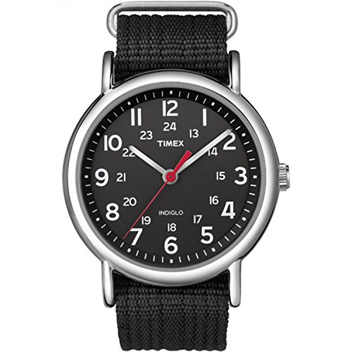 Timex Unisex T2N647 Weekender 38mm Black Nylon Slip-Thru Strap Watch