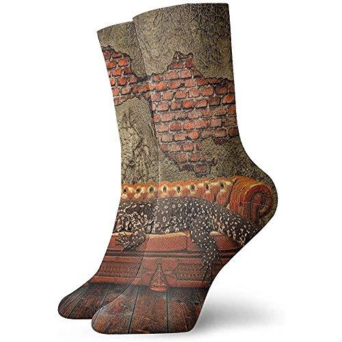 Tammy Jear Paquete de calcetines de vestir para hombre Grunge Ruin Wall de ladrillo y un lagarto gigante en el sofá Arte surrealista Divertidos calcetines de poliéster