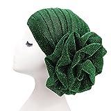 NJZYB Turbante de flores brillantes delgadas for las mujeres Musulmlum India Sombrero gorra brillo elegante cabeza bufanda diadema damas cabeza de cabeza accesorios for el cabello