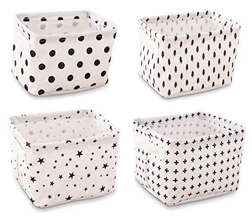 ASFINS Panier de Rangement en Tissu, 4pcs Corbeilles Table ã Langer Petit Panier Rangement, pour étagères et Bureau ou Maquillage(20 x 14 x 15,5cm) -B003