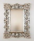 Rococo Espejo Decorativo de Madera Colonial Classic de 60x80cm en Plata (Envejecida)