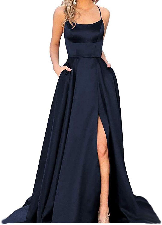 PearlBridal Women's Spaghetti Straps Satin Halter Prom Dresses with Pockets Long Formal Juniors Dress