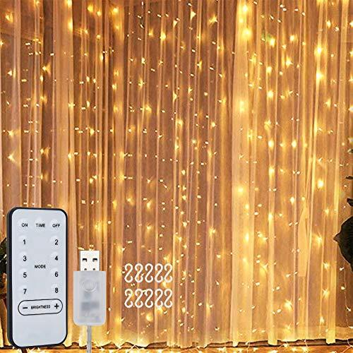 Willingood Lichterkette, Lichtervorhang 3 * 3m, 8 Modi Lichterketten für Aussen Innen Led lichterkettenwand mit Fernbedienung Timer USB für Zimmer Fenster Party Deko, 300 leds,Warmweiß