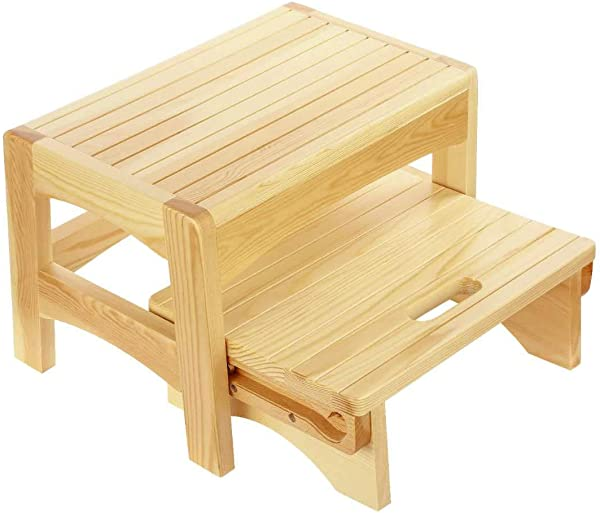 URFORESTIC Handcrafted 100 Solid Wood Bed Step Stool Foot Stool Kitchen Stools Bed Steps Small Step Ladder Bathroom Stools Beige