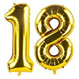 40 Inch Gold 18th Birthday Number Balloons 18 Foil Mylar Balloon for Anniversary Party Decoration